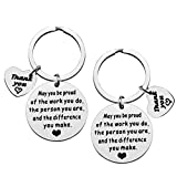 Thank You Gift Appreciation Jewelry Make A Difference Keychain Gift for Volunteer Appreciation Coach Mentor,Employee Gift,Social Worker Gift,Teacher Keyring The Difference You Make Keychain Set
