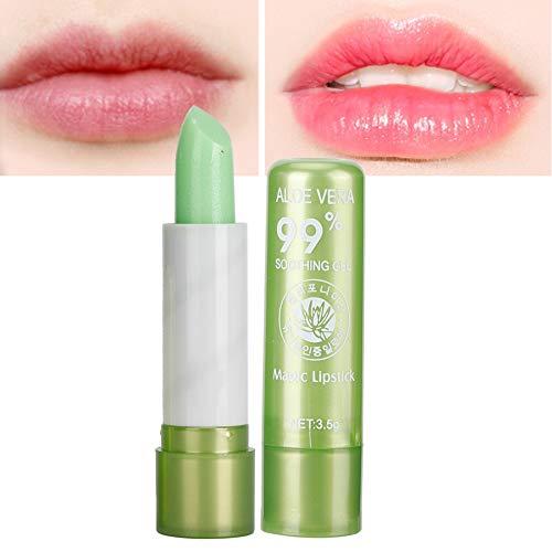 Bálsamo labial hidratante, Aloe Vera Cuidado de labios con cambio de color orgánico Bálsamo labial brillante Brillo Herramienta de belleza para una suavidad y brillo duraderos para los labios