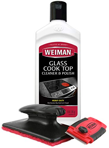 Weiman Cooktop Cleaner Kit - Cook Top Cleaner and Polish 10 oz. Scrubbing...