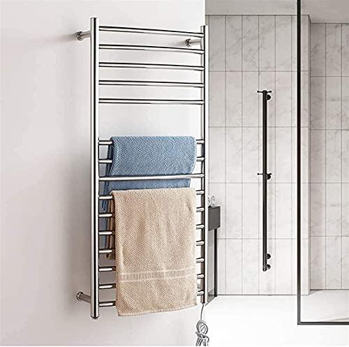 Inicio Equipo Rieles de toalla con calefacción Calentador de toallas Calentador de toallas de cromo pulido montado en la pared Toallero con calefacción para baño 15 barras calefactadas Toallero cal