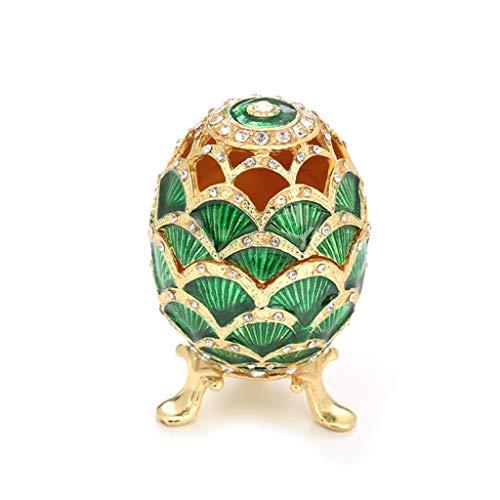 WT-DDJJK Coffret à Bijoux, Vert Fabergé-Oeuf Peint à la Main Bijoux bibelot boîte Cadeau pour la décoration de Pâques