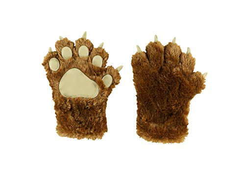 Lazy One Animal Paw Mittens for Adults and Kids, Bear, Costumes (Brown Mitt, Medium)