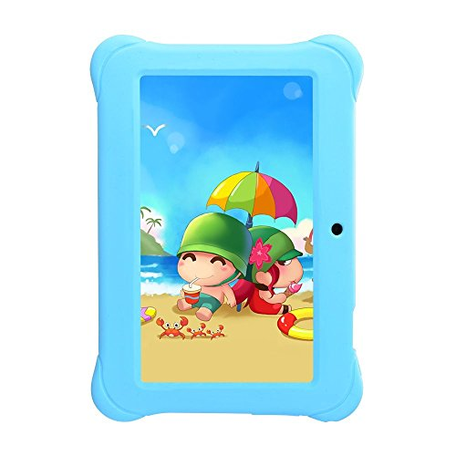 Alldaymall Tablets for kids 7 inch with Android Quad Core Wi-Fi and Dual Camera, 8GB+1GB, HD Kids Edition w/ iWawa Pre-Installed Bundle with Blue Kid-Proof Silicone Case