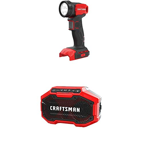 CRAFTSMAN V20 LED Work Light with Bluetooth Speaker, Tools Only (CMCL020B & CMCR001B)