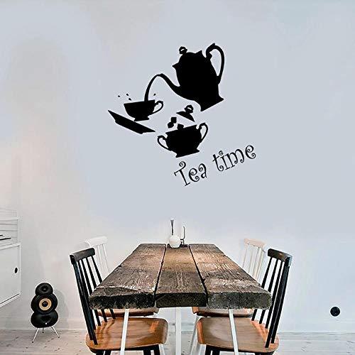 Thee Tijd Muursticker Keuken Interieur Decor Set Cup en Theepot Art Vinyl Raam Glazen Sticker Cafe Middagthee Relax Mural 30X31 cm