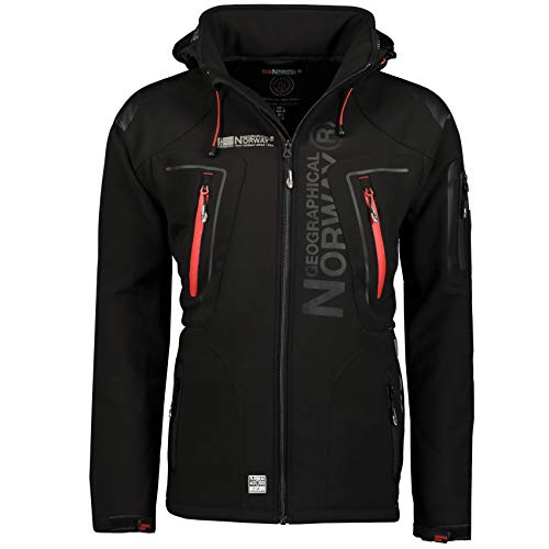 Geographical Norway Techno Softshelljacke Herren, Abnehmbare Kapuze Gr. Large, schwarz