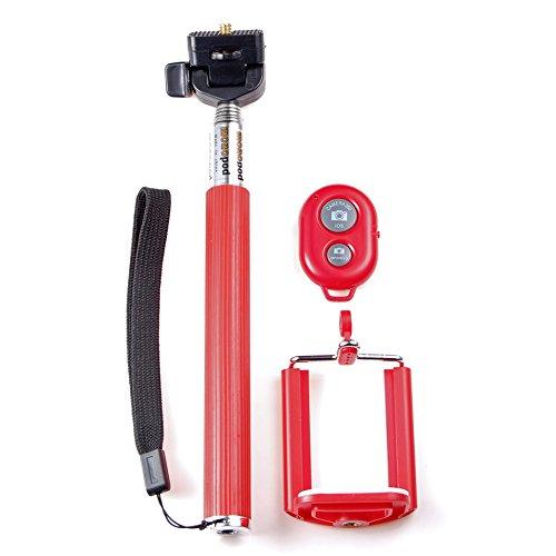 JZK® Monopiede bastone selfie + bluetooth telecomando per smartphone cellulare iPhone Samsung HTC Sony LG Nexus WIKO Nokia Huawei Motorola ecc (rosso)