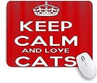 ECOMAOMI 可愛いマウスパッド 落ち着いて猫を愛してください 滑り止めゴムバッキングマウスパッドノートブックコンピュータマウスマット