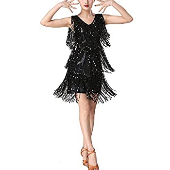 Whitewed Fringe Sparkle NYE Party Costume for Dance Competition Performance Show Adults Pure Black