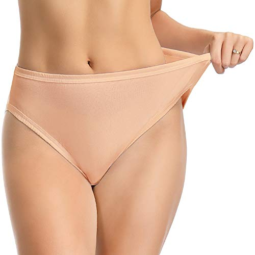 Wingslove 3 Pack Women's High-Cut Brief Plus Size Panties Comfort Soft Cotton Underwear Assorted (Champagne,9)