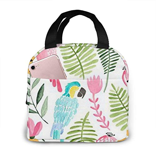 Summer Tropical Parrots Insulated Lunch Bag for Women/Men Reusable Lunch Bag for Office Work School Picnic Beach - Leakproof Cooler Tote Bag Freezable Lunch Bag for Kids/Adult