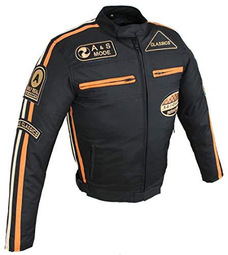 Motorradjacke Herren Textil mit Protektoren, Wasserabweisender, Winddicht, Biker Custom, Touring, Quad, Sport und Freizeit Jacke Gr. S bis 5XL (Schwarz Orange, XL)