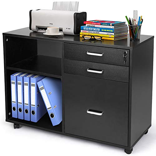 Black Printer Cabinet, TUSY Printer Stand with Open Storage Shelf, 3-Drawer Locked File Cabinet with Lock, Home Office