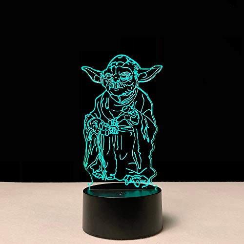 Solo 1 pezzo Cartoon Master Vader Leader Yoda Figura Lampada 3D LED USB Tavolo Mood Night Light Touch Multicolor