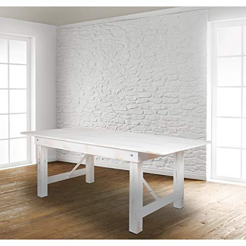 "Flash Furniture HERCULES Series 8' x 40"" Rectangular Antique Rustic White Solid Pine Folding Farm Table"