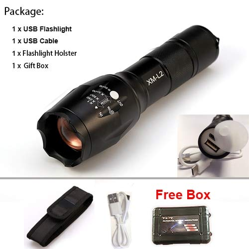 BT010PAC, CREE XM L2 : 8000 lumens CREE XML L2 USB LED Lampe torche de pêche Zoomable Lampe étanche Éclairage extérieur avec câble USB
