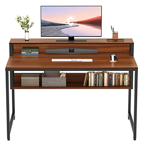Cubiker Computer Home Office Desk, 47' Small Desk Table with Storage Shelf and Bookshelf, Study Writing Table Modern Simple Style Space Saving Design, Espresso