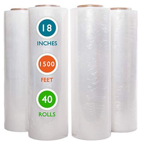 "40 Rolls 18"" x 1500 Ft Stretch Wrap Heavy Duty, Industrial Strength Shrink Wrap, 55 Gauge High Performance Stretch Film Replaces 80 Gauge Low Films, Clear Hand Stretch Wrap"