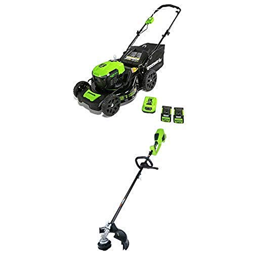 Review Greenworks 21-Inch 40V Brushless Cordless Mower with 14-Inch 40V Cordless String Trimmer (Att...