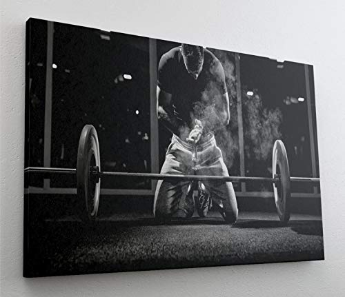 Bodybuilder Fitness Training Sport Leinwand Bild Wandbild Kunstdruck L0625 Größe 100 cm x 70 cm
