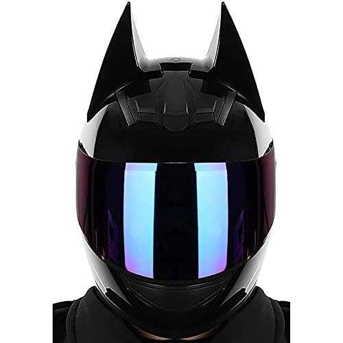 Casque Batman,Hommes et Femmes Casque Intégral de Motocross Moto Électrique de Course Cool,Approuvé par La ECE C,M=54~56CM