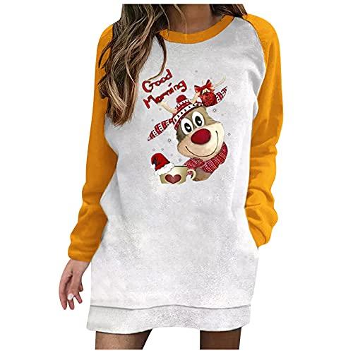 Dasongff Vestido de jersey para mujer, tallas grandes, para Navidad, Navidad, para fiestas, Amarillo-3., XXL