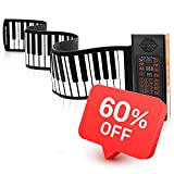KPP Portable Keyboard Piano, Roll Up 88 Keys Electronic Keyboard Flexible Silicone with Bluetooth Microphone Rechargeable Battery for Beginners Kids Adults