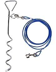 CtopoGo Correa De Perro (3 M / 5M / 10M) con Espiga De Estaca En Tierra Espiral De 46 cm- Salida para Patio Al Aire Libre Y Acampada - Perros PequeñOs A Medianos (3M, Azul)