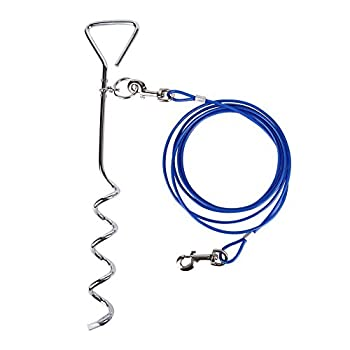CtopoGo Câble Attache Chien,Piquet en Acier Inoxydable(3M 5M10M)-360° Laisse et Attache en Spirale Domestiques Complet pour Extérieur Jardin et Camping L'Attache en Alliage de Zinc Pas de Rouille-5M