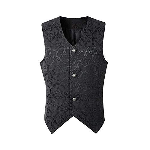 Shujin Herren Steampunk Gothic Formelle Mittelalter Weste Vintage Frack Ärmellos Vest Retro Schmaler Passform Victorian Uniform Kostüm Weste Vampir Cosplay Verkleidung