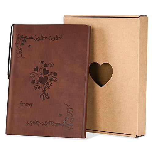 SEEALLDE Cuaderno de piel A5 páginas en blanco diario cuaderno mapamundi diario de viaje vintage cuaderno de notas cuaderno(A5 Forever)