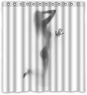 Home Curtain Funny Sexy Woman Nude Naked Silhouette Shadow Theme Painting Bathroom Shower Curtain With Rings ,100% Polyester 66x72inch