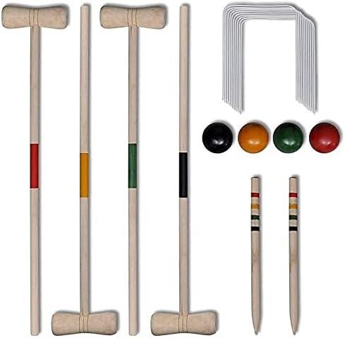 SZDYQ 4 Player Wooden Croquet Set Max 56% OFF San Jose Mall Lawn Family Gam Garden Outdoor