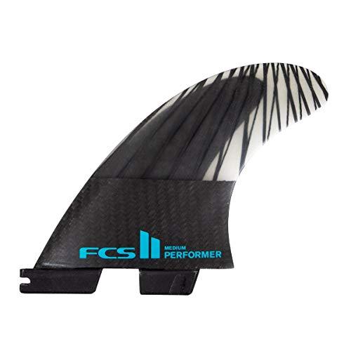 FCS II Performer PC Carbon Tri Fin Set, Medium, Negro/Verde Azulado