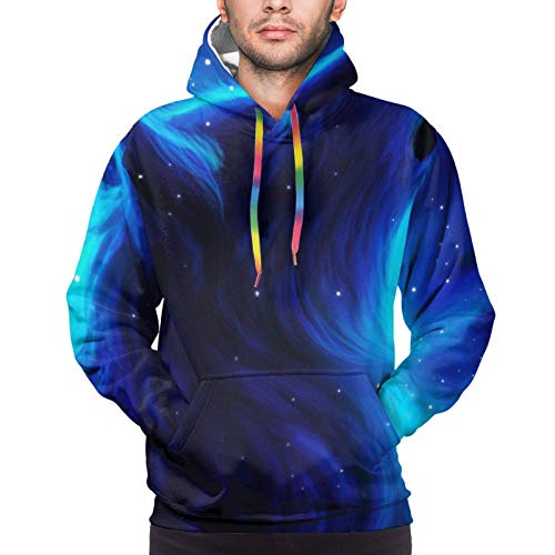 Divertida sudadera con capucha para hombre, diseño de galaxia, lobo mágico en el espacio (4)