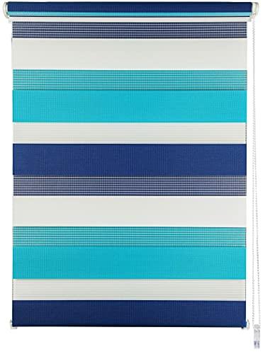 ondeco Estor doble Klemmfix Duo para ventana sin agujeros, protección solar, translúcido y opaco, 140 x 160 cm, color azul marino