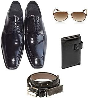 Eray Kundura Klasik Siyah Düz Erkek Ayakkabısı + Cüzdan + Kemer + Güneş Gözlüğü