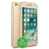 CASYLT [kompatibel für iPhone 6 / 6s] Hülle 360 Grad Fullbody Hülle [inkl. 2X Panzerglas] Premium Komplettschutz Handyhülle Gold