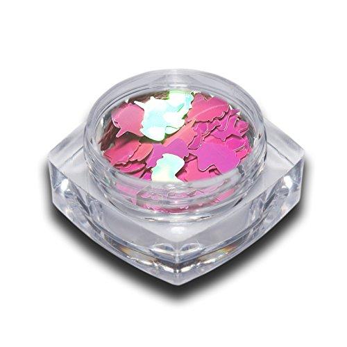 Glitter Glitzer Einhorn Unicorn Einleger Pink Aurora Effekt Pink Nailart