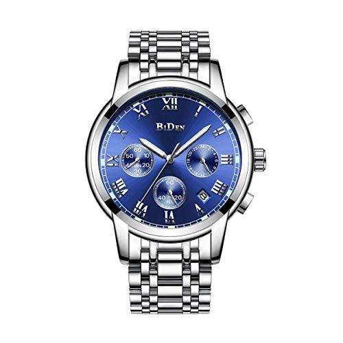 Relojes para Hombre, Relojes Reloj de Pulsera de Acero Inoxidable Plateado, Diseño de Dial Azul/Negro Fecha Calendario Relojes analógicos de Cuarzo Vestido de Negocios Causa