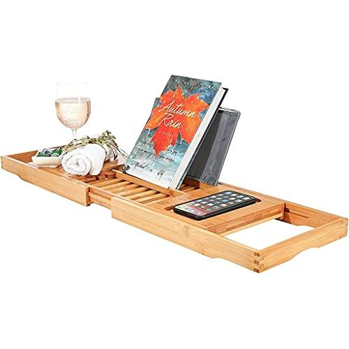 PHOOW bandejas bañera Bandeja de bañera de baño de bambú Caddy con páginas de extensión, Perchero de Lectura, teléfono móvil y Bandeja de Vino Integrado