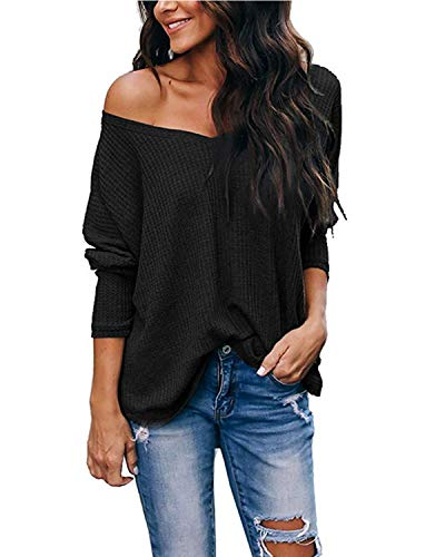 kenoce Jersey Mujer Otoño Suéter Fuera del Hombro Oversize Ancho Tejer Sueter Oversize Pullover Mujer Manga Larga Casual Suelto Blusa B-Negro L