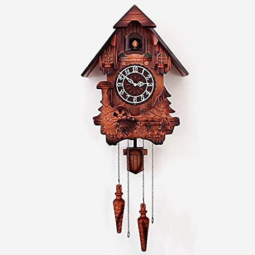 DIEFMJ Reloj de Pared de Madera de Cuarzo, Reloj de Chalet d