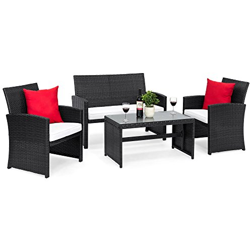 Best Choice Products 4-Piece Wicker Patio Conversation Furniture Set w/ 4 Seats and Tempered Glass Top Table, Black
