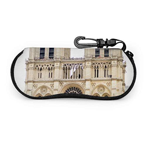 Ancient Notre Dame De Paris Estuche ligero para gafas de sol Estuche para anteojos artísticos Estuche ligero portátil con cremallera de neopreno Estuche blando Estuche de viaje Gafas de sol