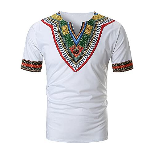 T-Shirt Hombre Verano Cuello V Slim Fit Hombre Deportiva Camisa Moda Estilo Hawaiano Empalme Manga Corta Funcional Camisa Causal Secado Rápido Hombres Correr Camisa A-White XL