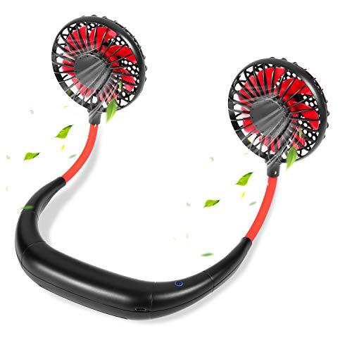 Abanicos de cuello portátil recargable personal manos libres USB Sport Neck Fan...
