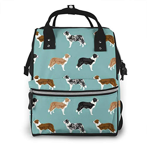 Border Collies Funny Dogs Art Baby Diaper Bag Backpack,Multi-Function Waterproof Large Capacity Travel Nappy Bags For Mom