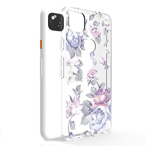CasesByLorraine Compatible with Google Pixel 4a Case [Not Compatible with Pixel 4a 5G], Purple Floral Flower Pattern Clear Transparent Flexible TPU Soft Gel Protective Cover for Google Pixel 4a (2020) -  CBL-GP4A-A-I33
