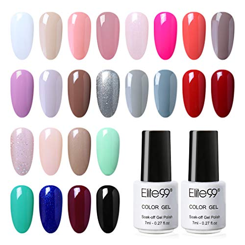 Elite99 Esmaltes Semipermanentes de Uñas en Gel UV LED, 24 Colores de Esmaltes de Uñas Soak off en Gel 7ML 004